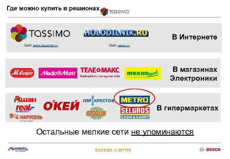 Где можно купить в решионах     В Интернете Сайт www. tassimo.