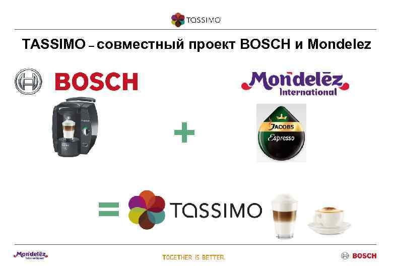 TASSIMO – совместный проект BOSCH и Mondelez    +   =