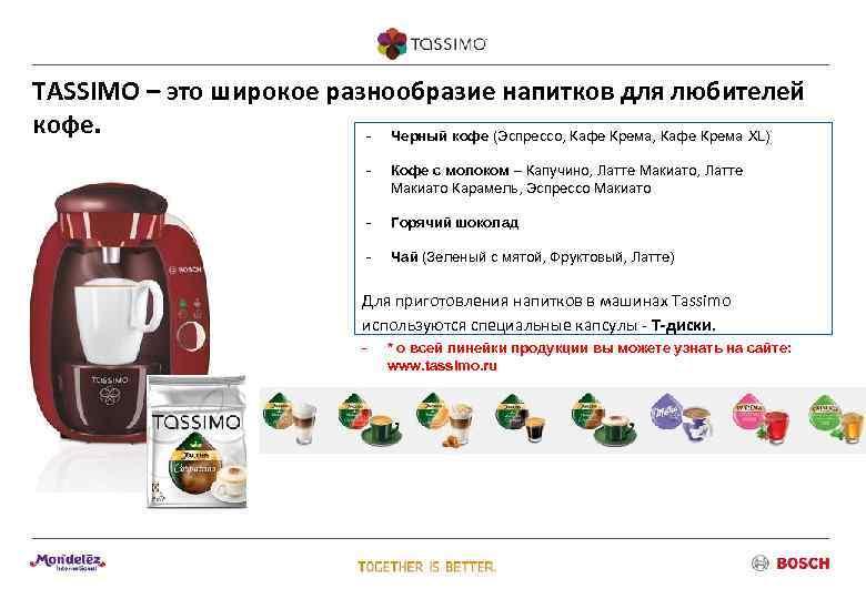 TASSIMO – это широкое разнообразие напитков для любителей кофе.     -