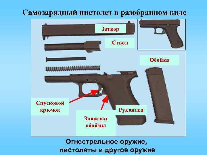 Самозарядный пистолет в разобранном виде     Затвор