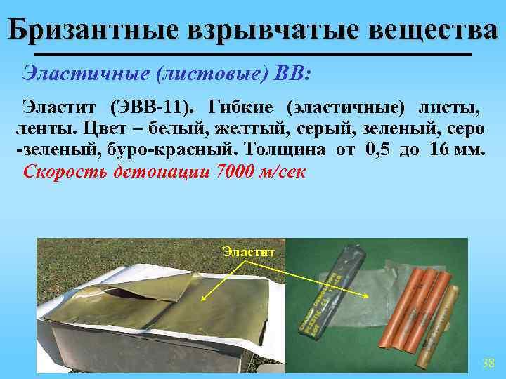Бризантные взрывчатые вещества Эластичные (листовые) ВВ:  Эластит (ЭВВ-11). Гибкие (эластичные) листы, ленты. Цвет