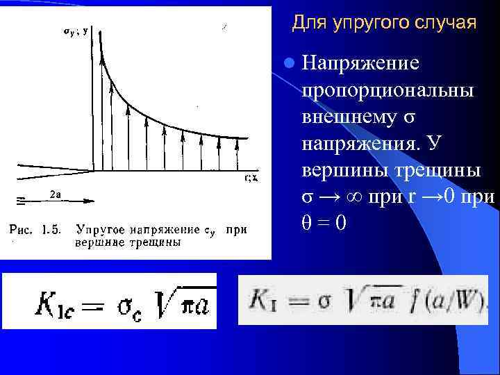 Для упругого случая l Напряжение пропорциональны внешнему σ напряжения. У вершины трещины σ →