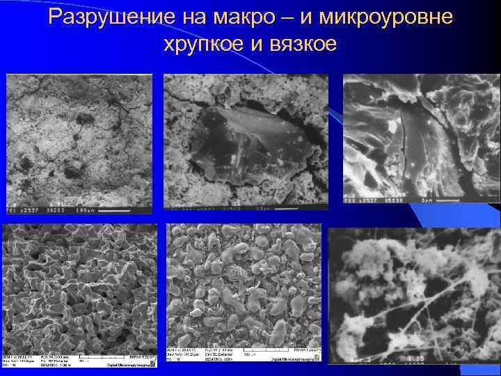 Разрушение на макро – и микроуровне   хрупкое и вязкое
