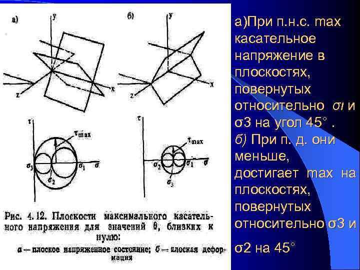 а)При п. н. с. max касательное напряжение в плоскостях, повернутых относительно σι и σ3