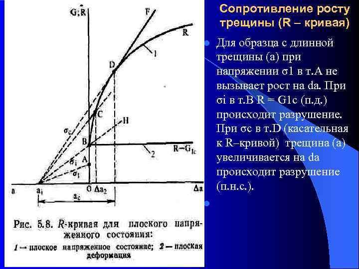Сопротивление росту трещины (R – кривая) l  Для образца с длинной