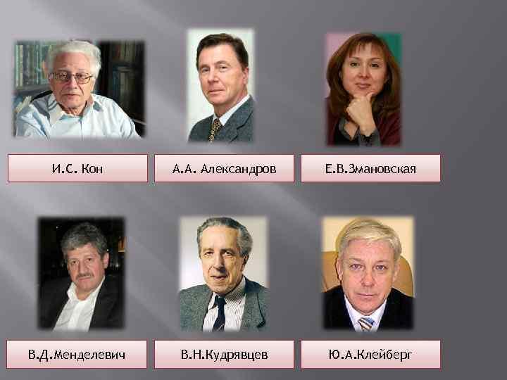И. С. Кон А. А. Александров  Е. В. Змановская В. Д.