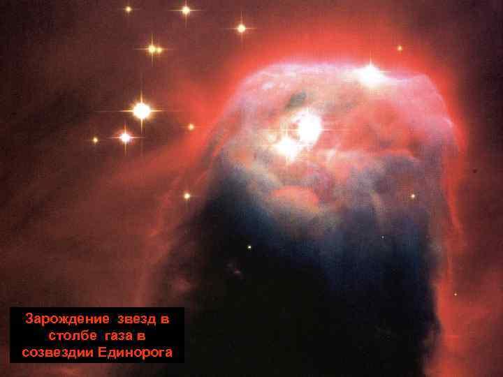 Зарождение звезд в  столбе газа в созвездии Единорога