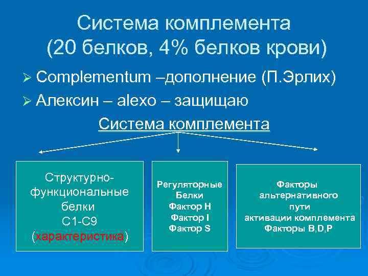 Система комплемента  (20 белков, 4% белков крови) Ø Complementum –дополнение (П. Эрлих)