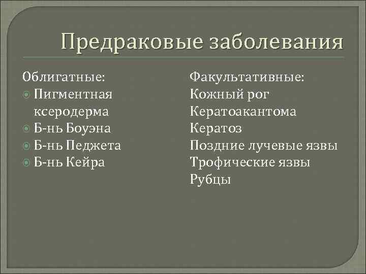 Предраковые заболевания Облигатные:  Факультативные:  Пигментная Кожный рог  ксеродерма Кератоакантома