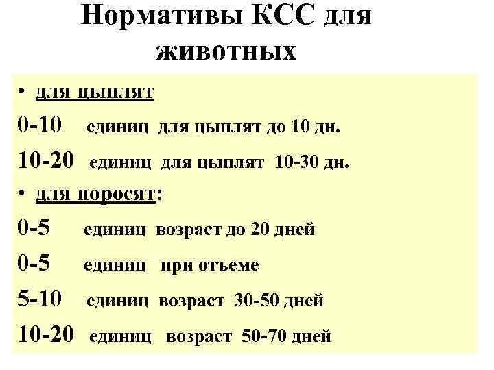 Нормативы КСС для   животных • для цыплят 0 -10