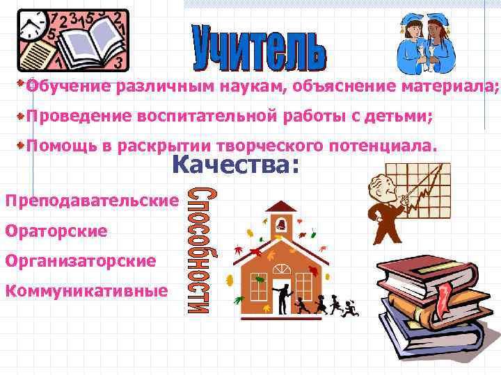 Обучение различным наукам, объяснение материала;  Проведение воспитательной работы с детьми;  Помощь