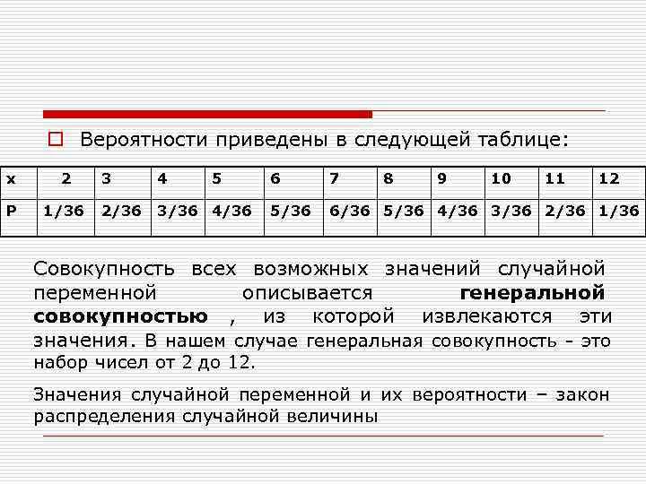 o Вероятности приведены в следующей таблице: х 2 3 4  5 6