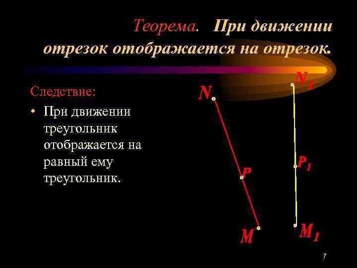 Теорема. При движении отрезок отображается на отрезок.  Следствие:  • При