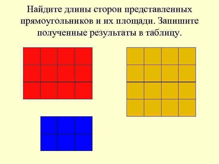 Найдите длины сторон представленных прямоугольников и их площади. Запишите  полученные результаты в