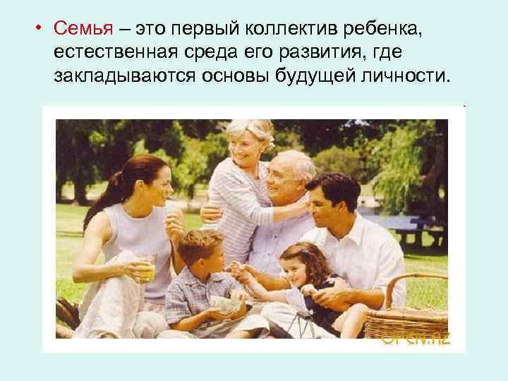 • Семья – это первый коллектив ребенка, естественная среда его развития, где