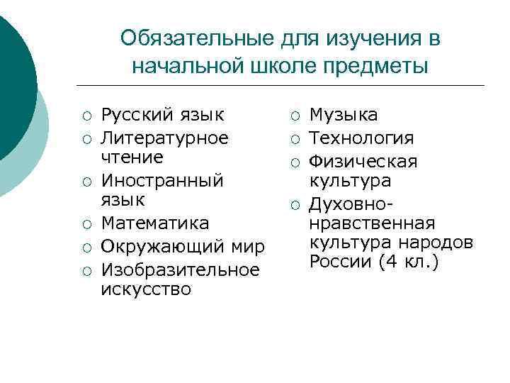 Обязательные для изучения в  начальной школе предметы ¡  Русский язык