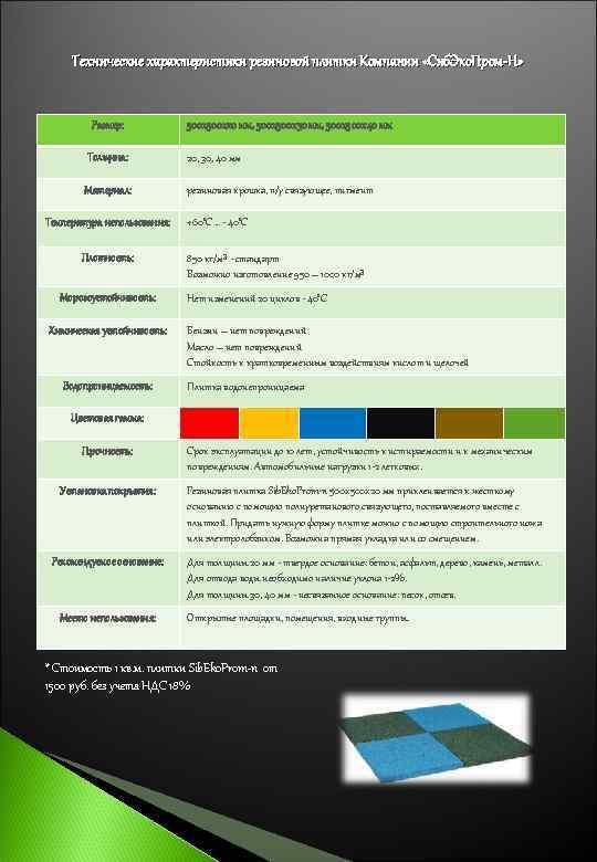 Технические характеристики резиновой плитки Компании «Сиб. Эко. Пром-Н»   Размер: