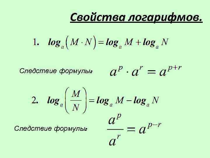 Свойства логарифмов. Следствие формулы: