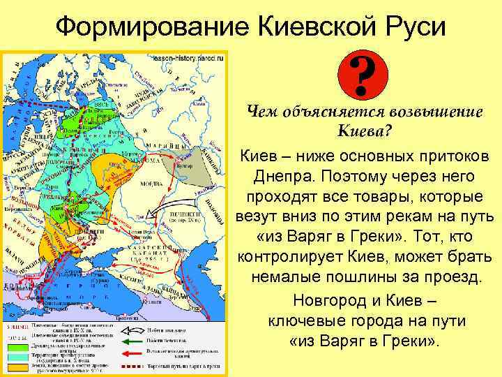 Формирование Киевской Руси     ?    Чем объясняется возвышение