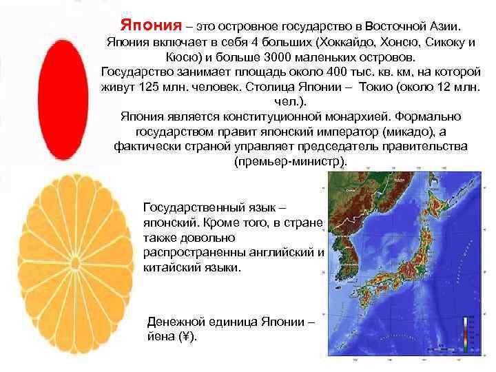 Япония – это островное государство в Восточной Азии.  Япония включает в