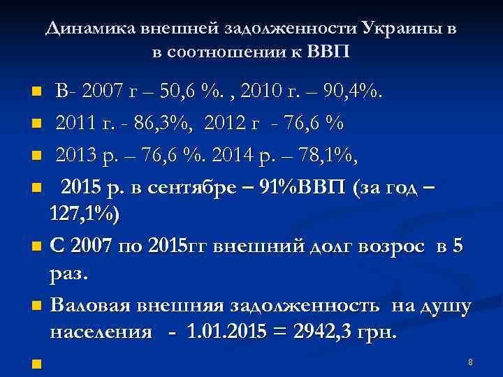 Динамика внешней задолженности Украины в    в соотношении к ВВП