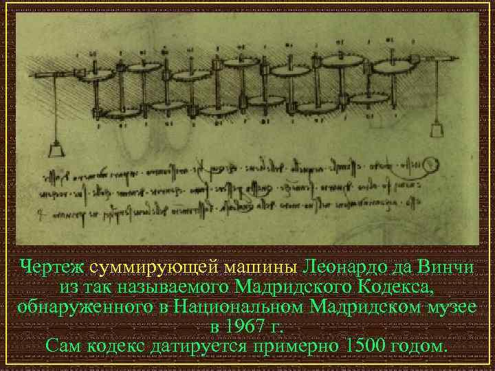Чертеж суммирующей машины Леонардо да Винчи из так называемого Мадридского Кодекса,  обнаруженного в