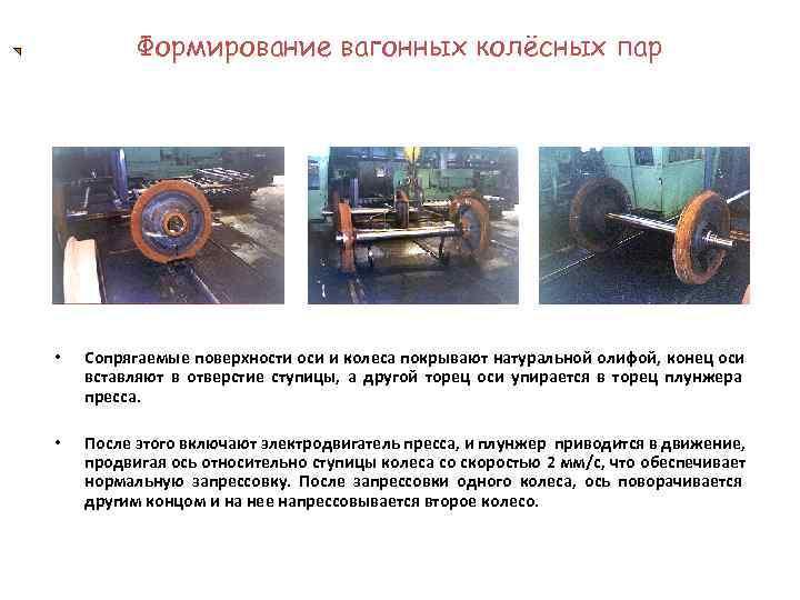 Формирование вагонных колёсных пар •  Сопрягаемые поверхности оси и колеса