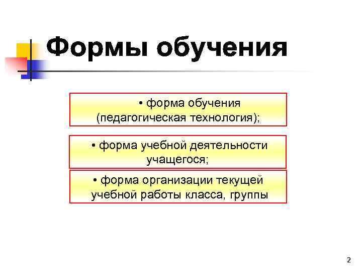 • форма обучения  (педагогическая технология); • форма учебной деятельности  учащегося;
