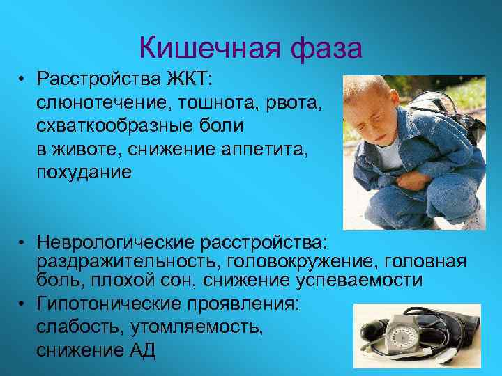 Кишечная фаза • Расстройства ЖКТ:  слюнотечение, тошнота, рвота,  схваткообразные боли