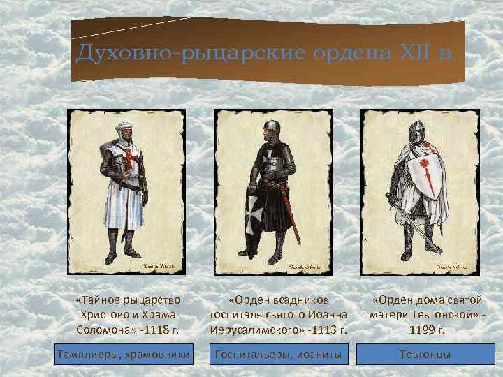 Духовно-рыцарские ордена XII в.   «Тайное рыцарство   «Орден всадников