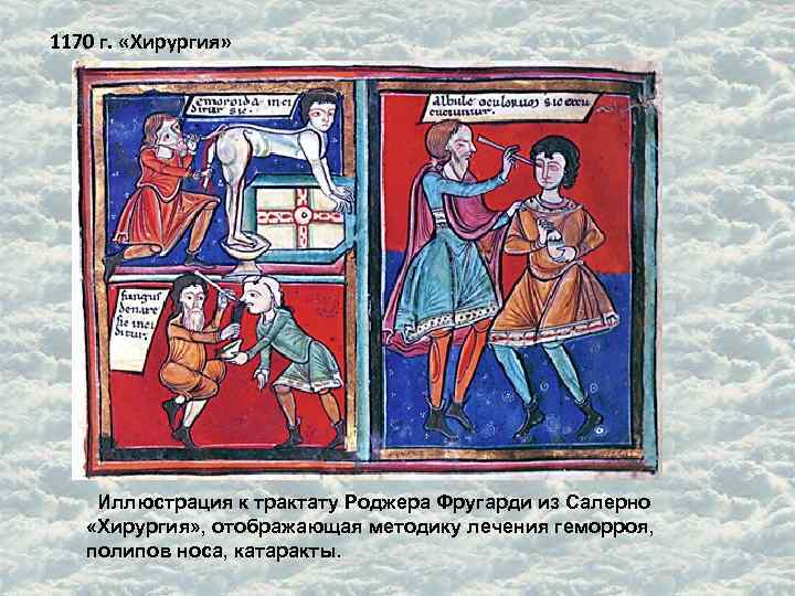 1170 г.  «Хирургия»  Иллюстрация к трактату Роджера Фругарди из Салерно «Хирургия» ,