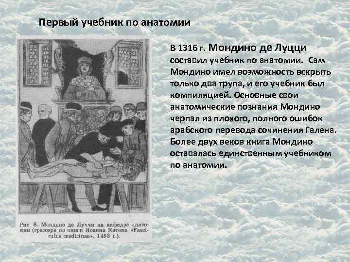 Первый учебник по анатомии    В 1316 г. Мондино де Луцци