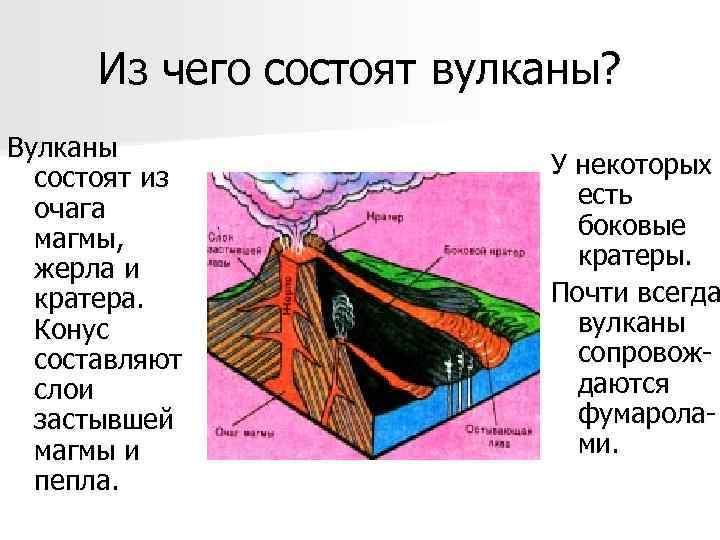 Из чего состоят вулканы? Вулканы  состоят из   У некоторых