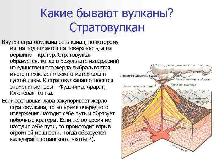 Какие бывают вулканы?    Стратовулкан Внутри стратовулкана есть канал,