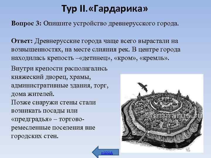 Тур II. «Гардарика» Вопрос 3: Опишите устройство древнерусского города.