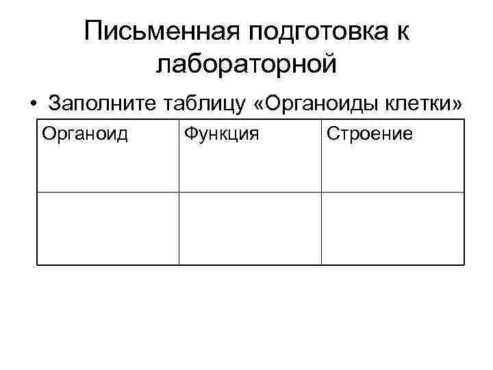 Письменная подготовка к   лабораторной • Заполните таблицу «Органоиды клетки»