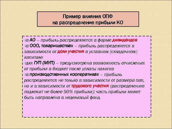 Пример влияния ОПФ   на распределение прибыли КО