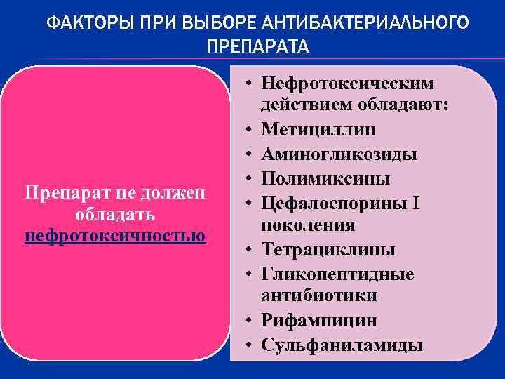 ФАКТОРЫ ПРИ ВЫБОРЕ АНТИБАКТЕРИАЛЬНОГО   ПРЕПАРАТА    • Нефротоксическим