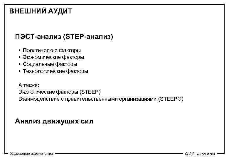 ВНЕШНИЙ АУДИТ ПЭСТ-анализ (STEP-анализ) •  Политические факторы •  Экономические факторы •