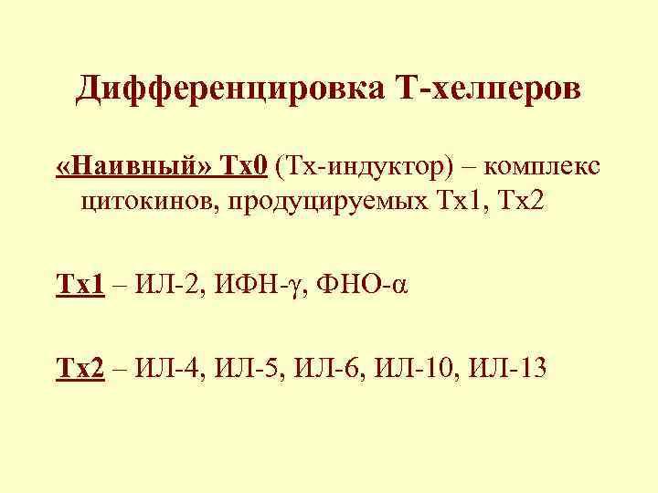 Дифференцировка Т-хелперов  «Наивный» Тх0 (Тх-индуктор) – комплекс  цитокинов, продуцируемых Тх1, Тх2