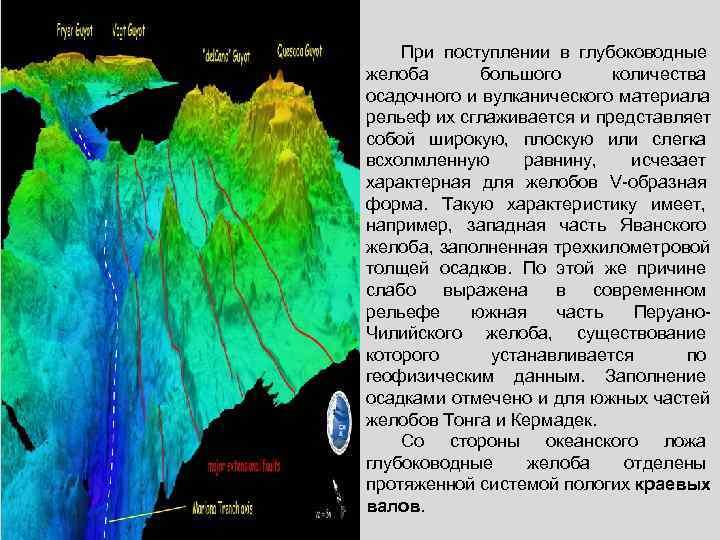 При поступлении в глубоководные желоба  большого количества осадочного и вулканического материала