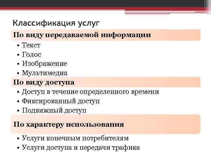 Классификация услуг По виду передаваемой информации  • Текст  • Голос  •