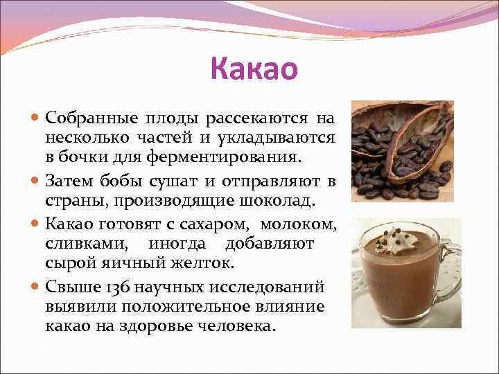 Какао  Собранные плоды рассекаются на  несколько частей