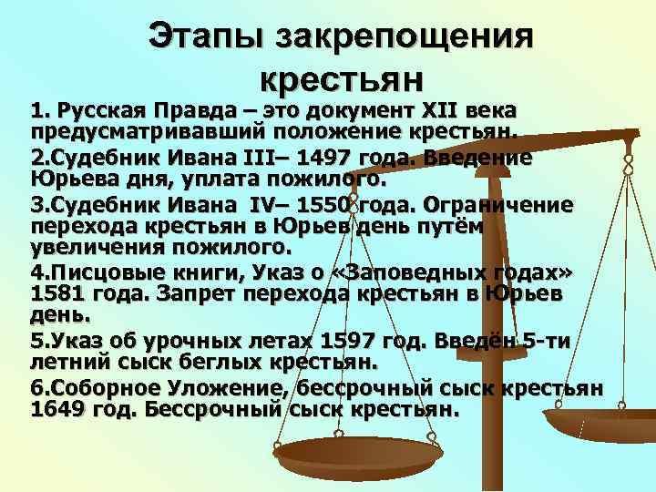 Этапы закрепощения    крестьян 1. Русская Правда – это