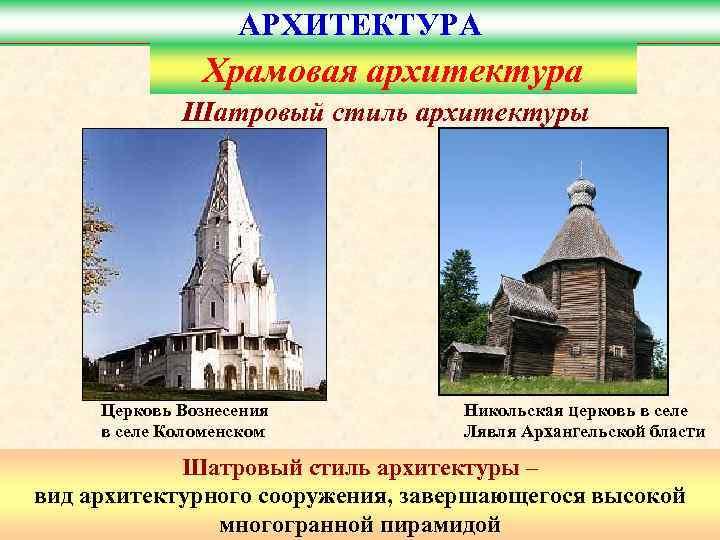 АРХИТЕКТУРА    Храмовая архитектура   Шатровый стиль