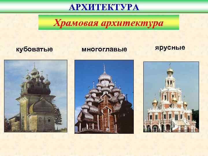 АРХИТЕКТУРА   Храмовая архитектура кубоватые  многоглавые  ярусные