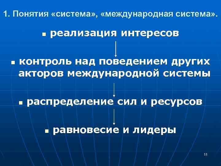 1. Понятия «система» ,  «международная система» .   n  реализация интересов