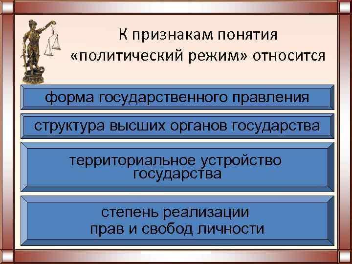 К признакам понятия «политический режим» относится  форма государственного правления структура