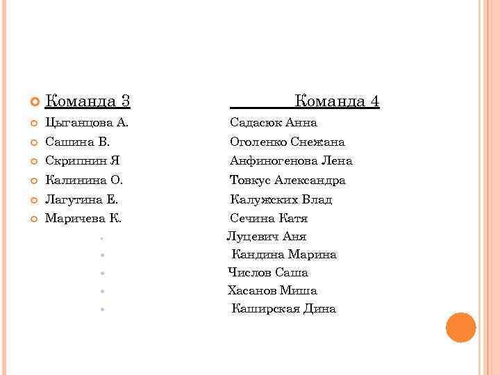 Команда 3    Команда 4 Цыганцова А.  Садасюк Анна