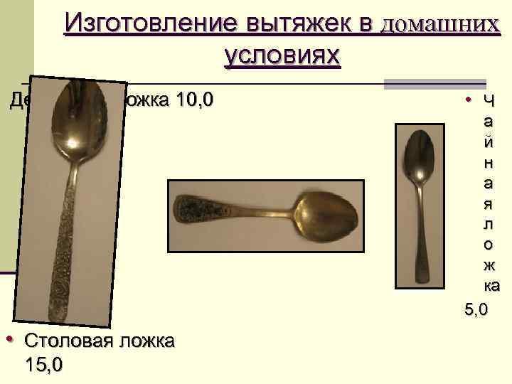 Изготовление вытяжек в домашних   условиях Десертная ложка 10, 0